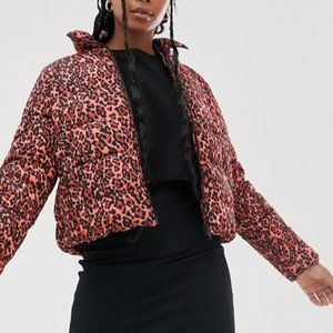Noisy May Leopard Print Padded Jacket